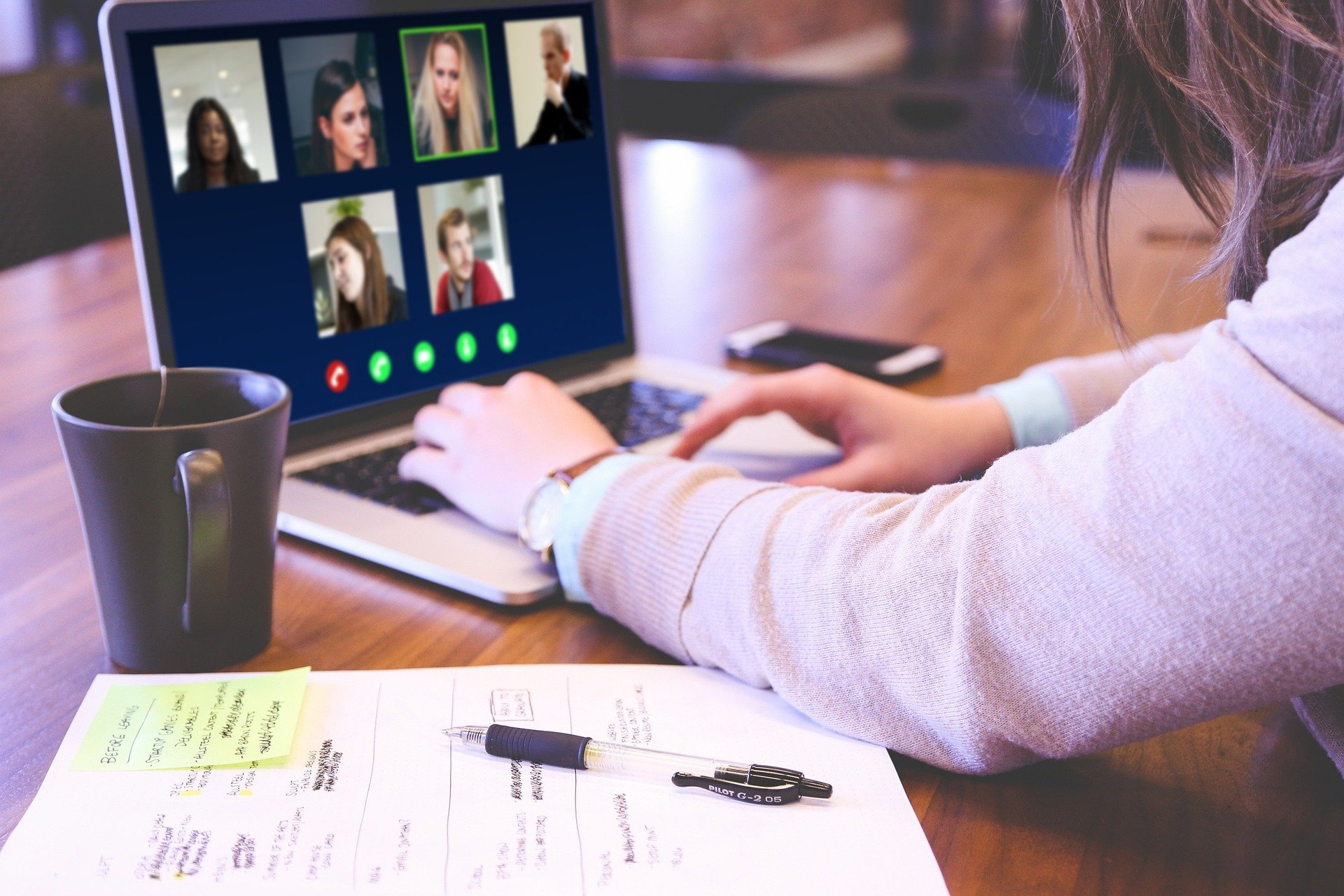 A person joins a video conference